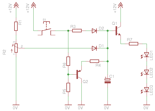 led fade in fade out dimmer this circuit is a little bit more complicated lets see how it works and first of all what this r2 potentiometer does this small potentiometer is