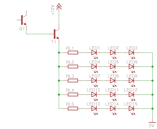 led fade in fade out dimmer q1 is the bc548 transistor from the previous circuits t1 is the bd243 power transistor the above schematic has 15 leds 5 lines of 3 leds each